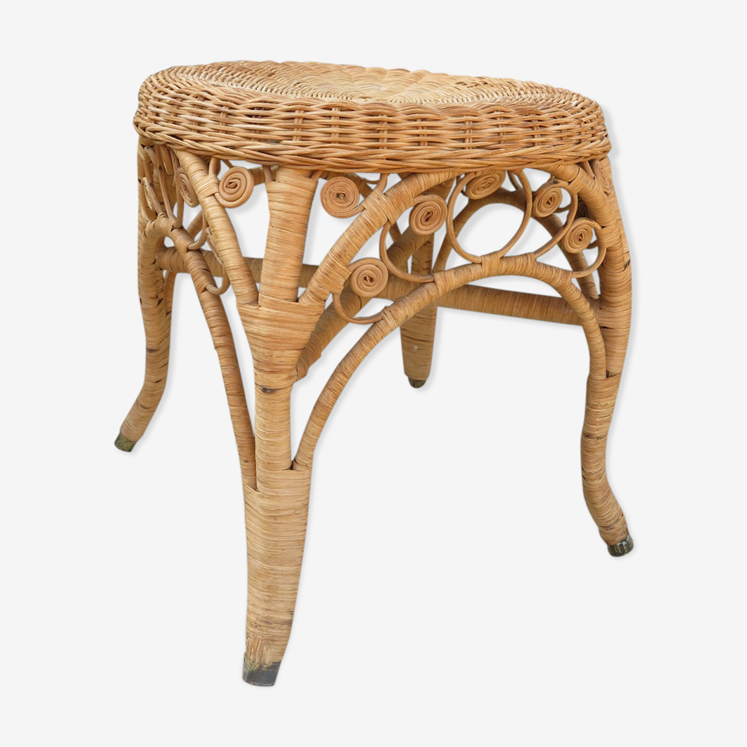 Stool peacock rattan of the 1970s