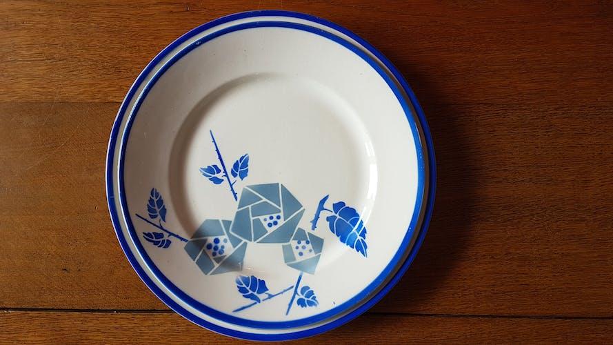 Service de table en faïence de Luneville bleu