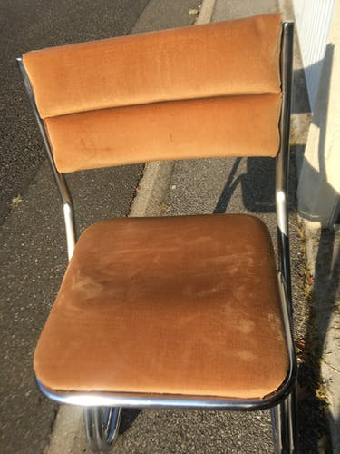 Set of 4 chrome and velvet steel chairs