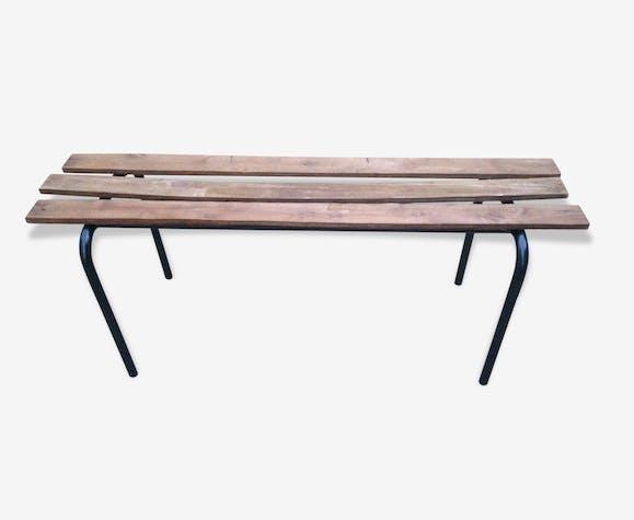 banc ancien ecole bois metal vintage ann e 70 m tal. Black Bedroom Furniture Sets. Home Design Ideas