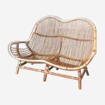 Bench / vintage and atypical rattan sofa