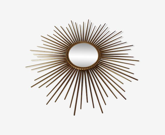 Curved sunny mirror Chaty Vallauris from the 60's - 71x71