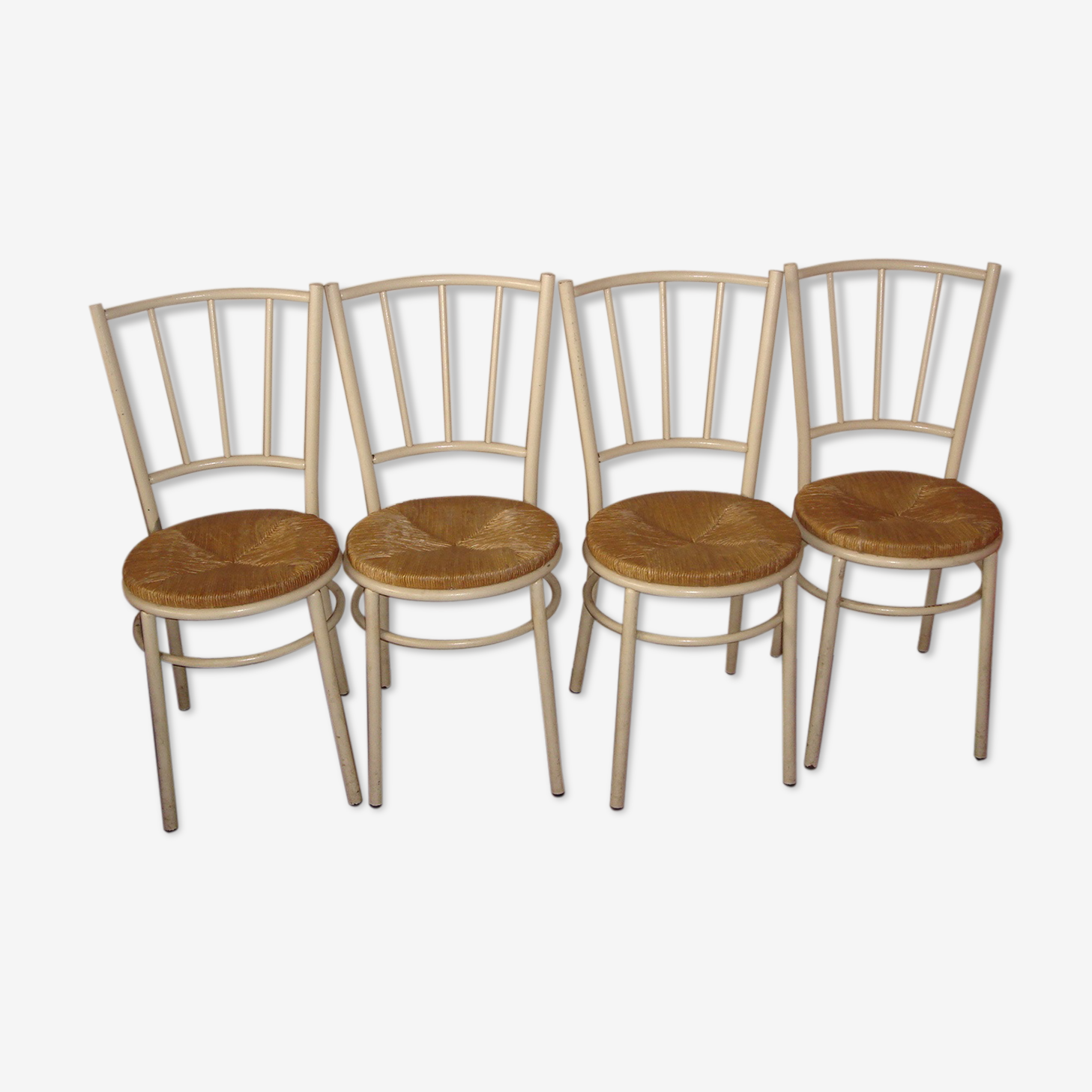 4 Bistro metal and straw seat chairs