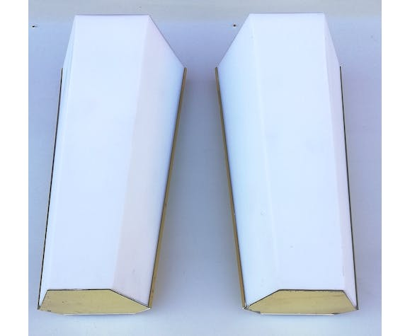 Pair of Limburg glass and brass wall lamps, 1970