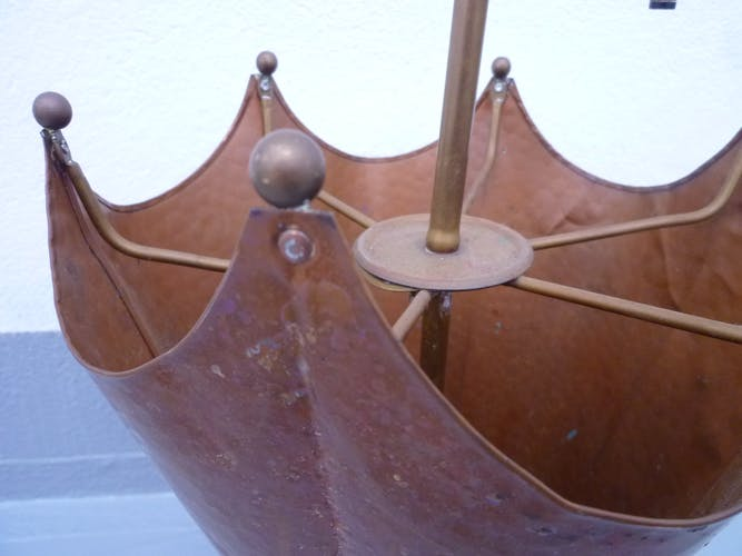 Hammered copper umbrella stand and brass