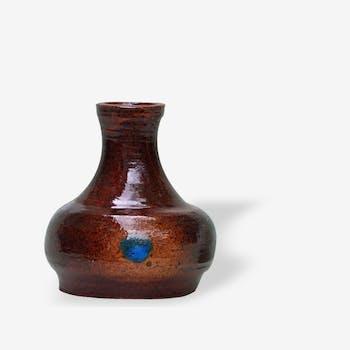 Vase céramique vintage marron et bleu