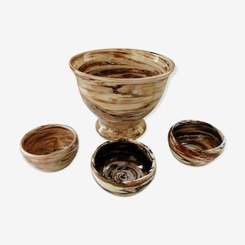 Ensemble bol et tasses en terres mélées poterie Ancel.