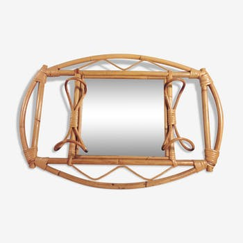Mirror rattan with 2 hooks 69x47cm