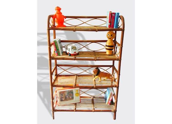 biblioth que en rotin ann es 60 rotin et osier marron vintage 6149. Black Bedroom Furniture Sets. Home Design Ideas
