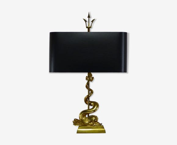 Lampe de table au dauphin et trident