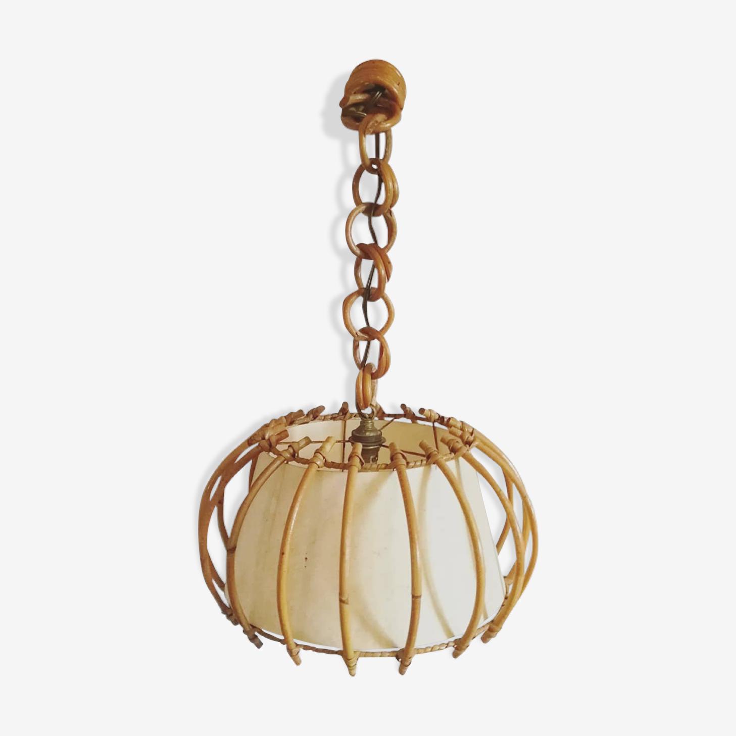 Lamp ceiling light rattan, Bohemian chic decoration / vintage 60's