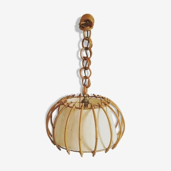 Lamp ceiling light rattan, Bohemian chic decoration / vintage 60's