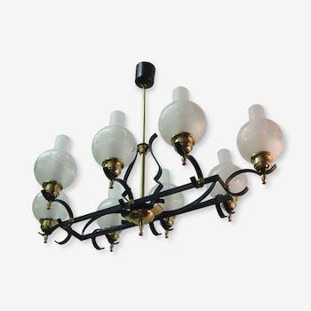 Lustre Fer Forge LELEU Mid Century Espagnol Verre Chandelier Wrought Iron French Spanish Glass