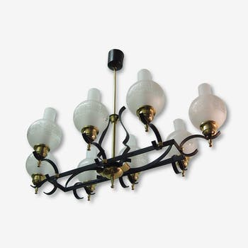 Chandelier iron Forge LELEU Mid Century Spanish glass candlestick Wrought Iron French Spanish Glass
