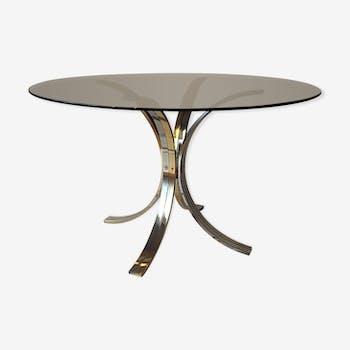 Table de salon dorée et chrome verre teinté épais rond 1970
