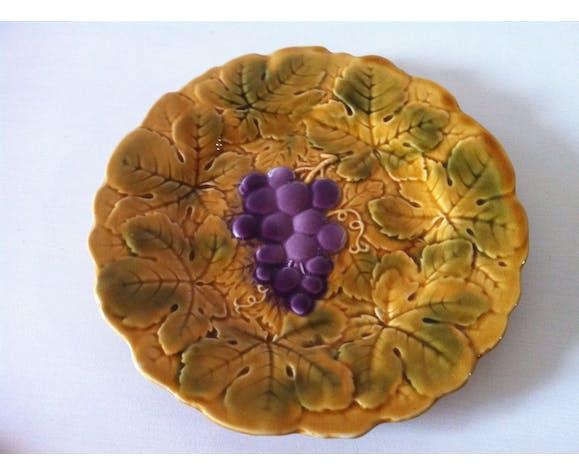 Set d'assiettes en barbotine céramique de Sarreguemines