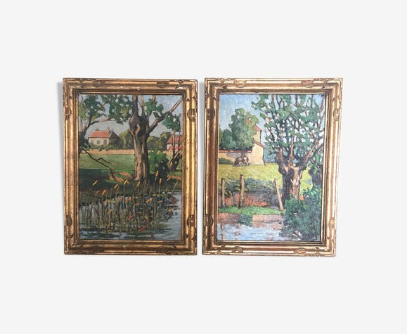 Landscape paintings of Normandy oil on canvas early 20th Cty