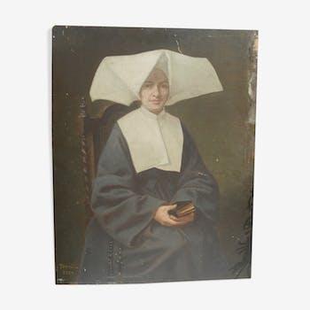 """Portrait signé """"Nonne à cornette"""" sur panneau"""