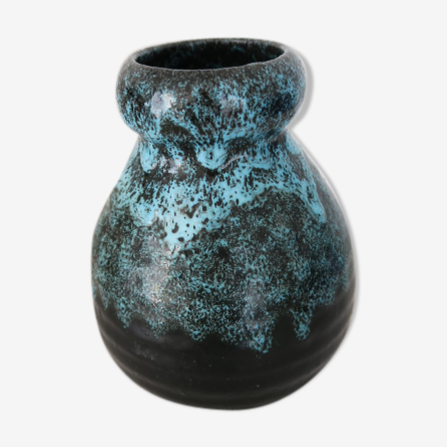 Accolay blue and Black ceramic vase 1950