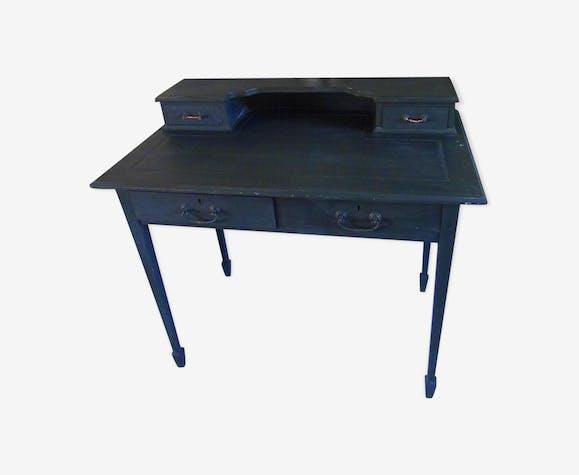 Bureau patiné gris ardoise bois matériau noir industriel