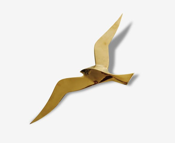 oiseau mouette hirondelle en laiton pour d coration murale ann es 50 60 laiton dor. Black Bedroom Furniture Sets. Home Design Ideas