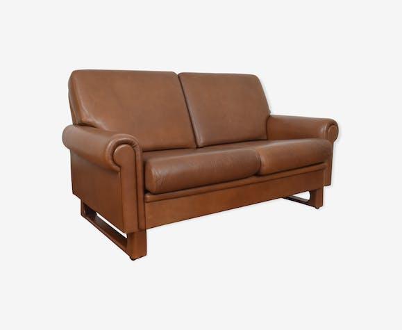 Sofa en cuir danois du milieu du siècle années 1960