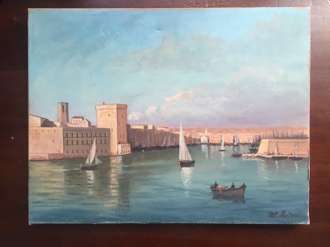 Huile sur toile : le port de Marseille