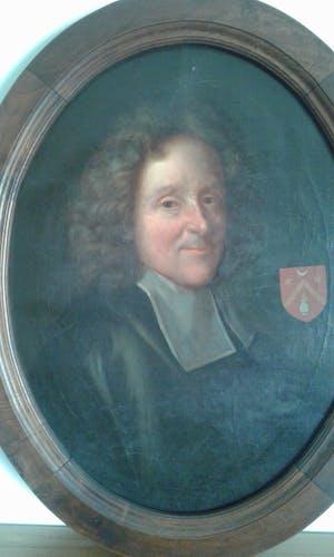Ancient portrait oil on canvas.Étienne Baluze 18th