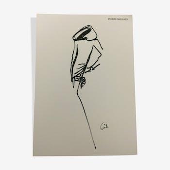 Illustration vintage de mode Pierre Balmain signée erick des années 80