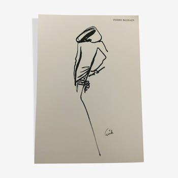 Vintage Pierre Balmain signed erick from the 80s fashion illustration
