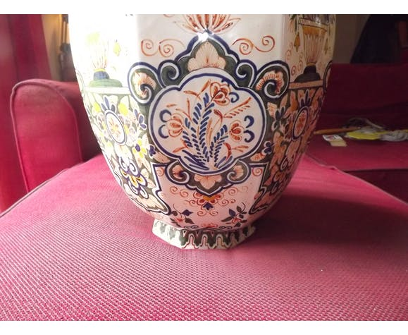 Rouen earthenware vase 19th