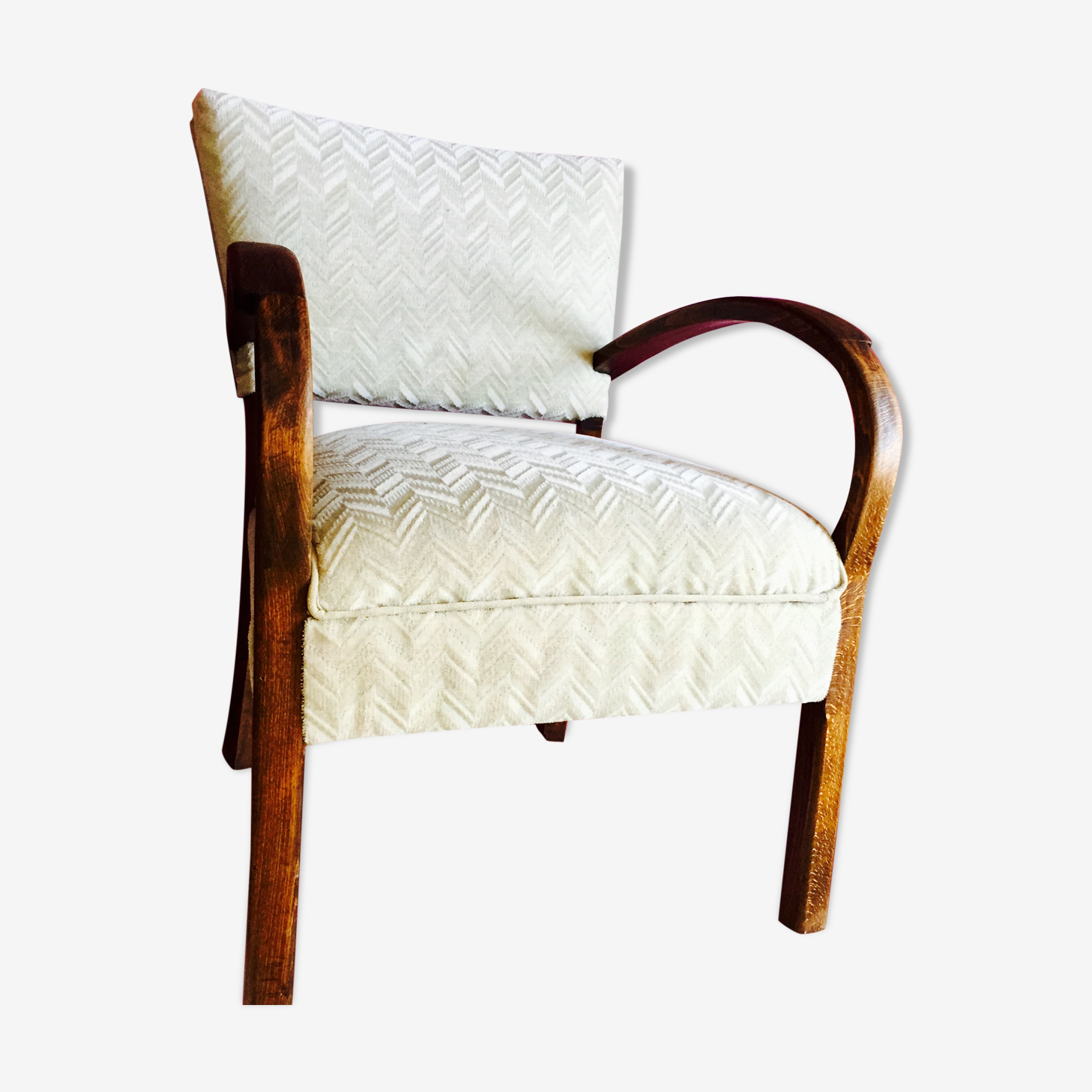 Joli petit fauteuil rétro refait enti¨rement bois Matériau