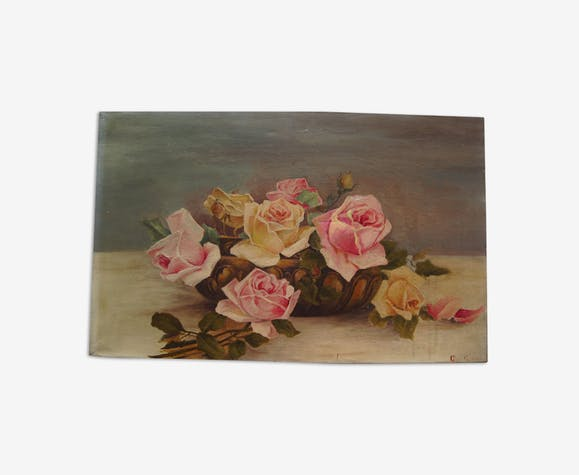 Oil painting on canvas HST Roses Vase signed GUY FAUDOT Pier