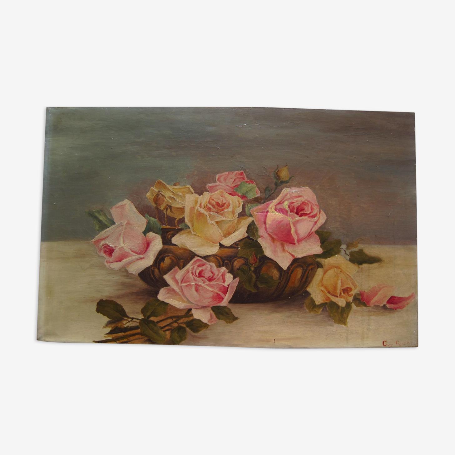 Peinture huile sur toile hst jetée de roses vase signée Guy Faudot