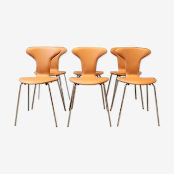 Set of 6 chairs Arne Jacobsen by Munkegaard retapissees