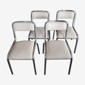 Lot of 4 chairs in chrome and white skai steel tubes 70