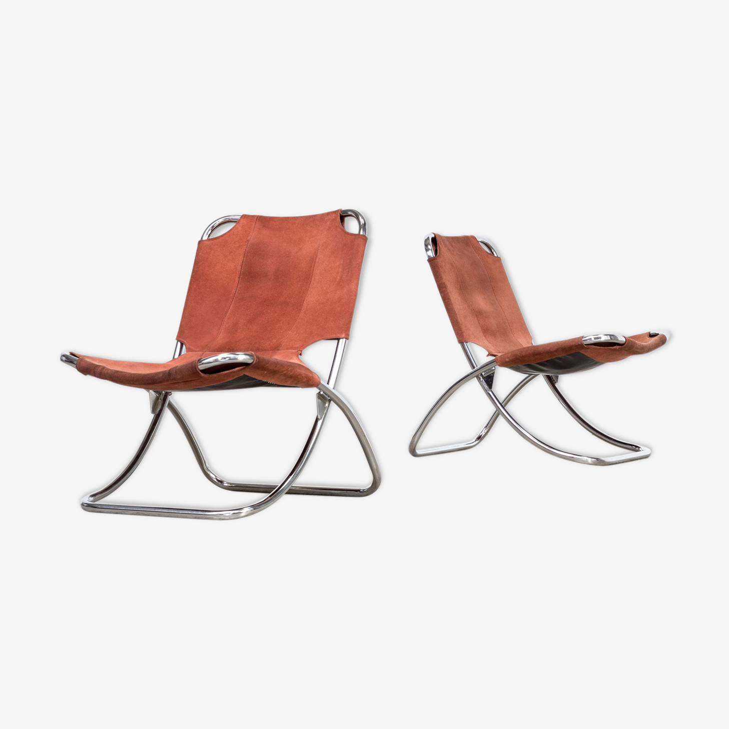 Set of 2 chrome framed and leather folding chair 60's