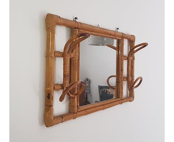 Miroir porte manteau en rotin et bambou années 70 35x70cm