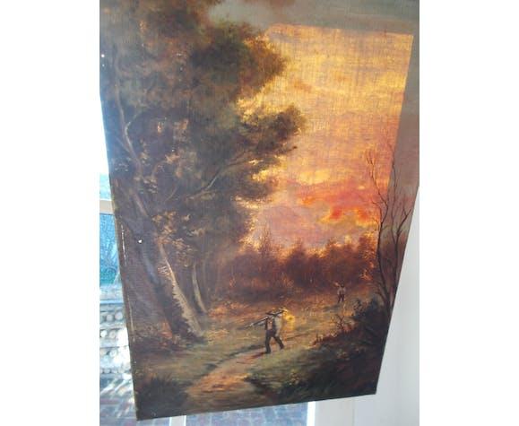 """Paire de tableaux anciens """"paysage peinture sur toile"""""""