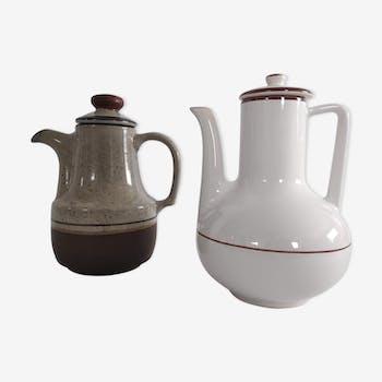 Paire de théières vintages assorties en céramique des années 70
