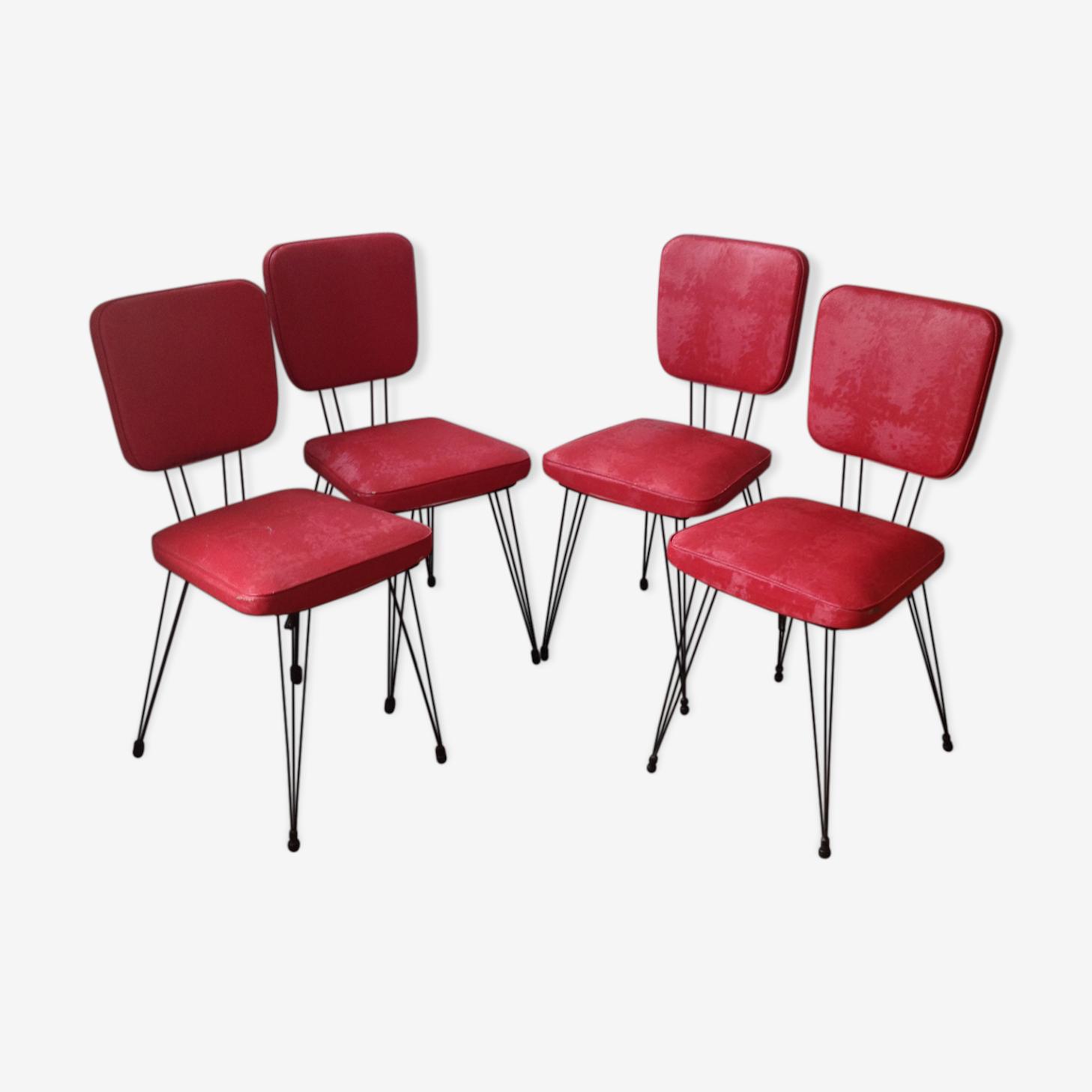 Lot de 4 chaises skaï pieds Eiffel