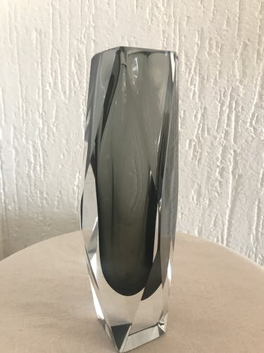 Vase Murano Sommerso gris anthracite 1970