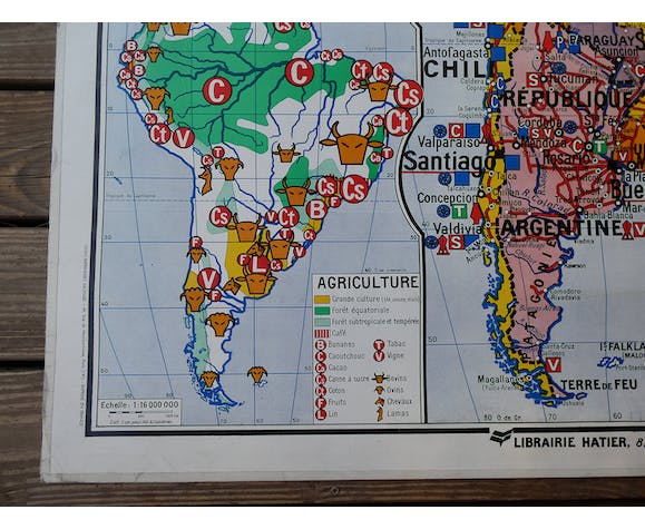 Old school map of South America Hatier no.20