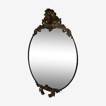 Miroir ovale doré style ancien