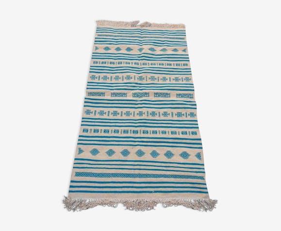Tapis berbère beige et bleu en pure laine 190x105cm