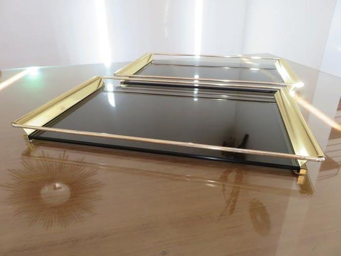 Plateau Umberto Mascagni Italy métal doré et verre fumé années 70