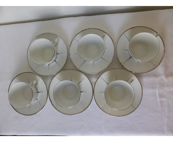 6 Vintage Cups And Saucers Art Deco Style From Lt France In Limoges Porcelain Selency