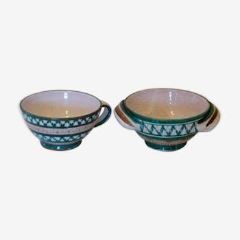 Deux bols signés Robert Picault Vallauris, en céramique émaillée, vintage 1950/60, un avec deux anses et un avec une anse