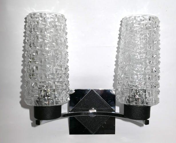 Applique double metal chrome et noir années 1960