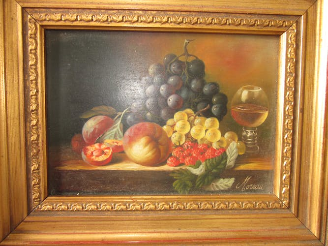 Still life painting with fruit